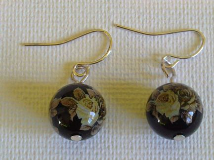Yellow rose decal bead earrings